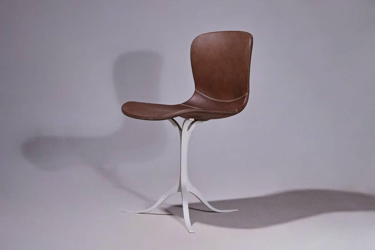 Mid-Century Modern Set of 6 Bespoke Leather Chairs with Hand-Cast Brass Base, P.Tendercool in Stock For Sale