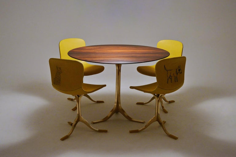 Bespoke Round Table, Reclaimed Hardwood, Bronze Base by P. Tendercool in Stock For Sale 1