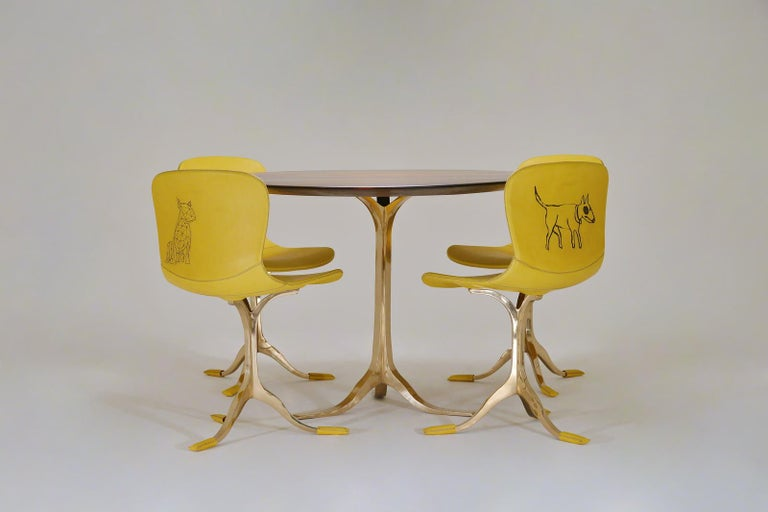 Brass Bespoke Round Table, Reclaimed Hardwood, Bronze Base by P. Tendercool in Stock For Sale