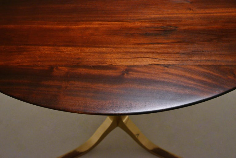 Minimalist Bespoke Round Table, Reclaimed Hardwood, Bronze Base by P. Tendercool in Stock For Sale