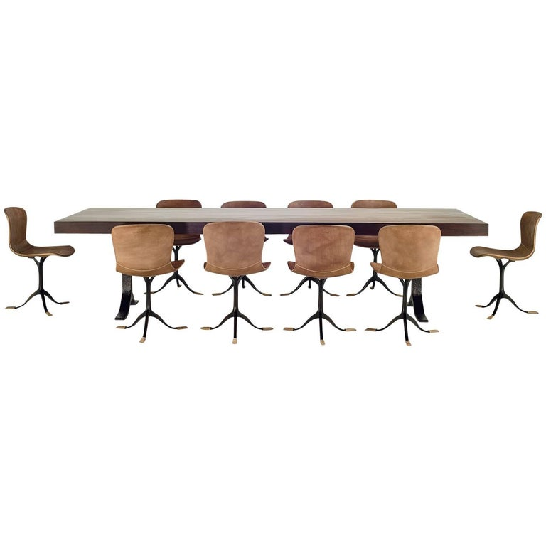 Collection of Ten Brass and Leather Chairs, Made to Order by P.Tendercool For Sale