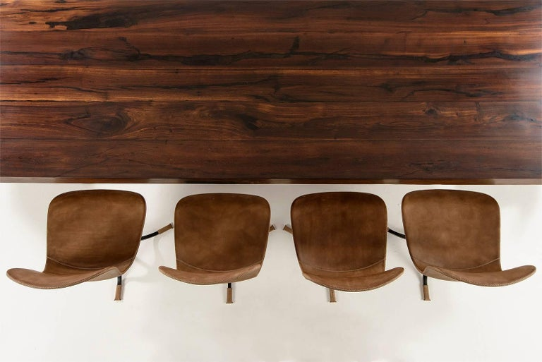 Cast Collection of Ten Brass and Leather Chairs, Made to Order by P.Tendercool For Sale
