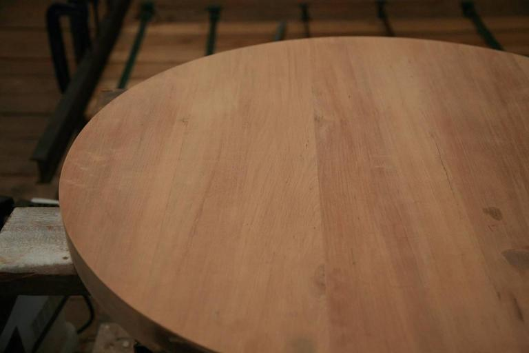Round Table in Reclaimed Hardwood, Sand-cast Brushed Brass Base, by P.Tendercool 5
