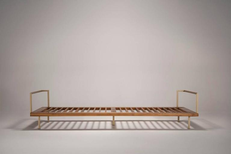 Bespoke Double Day Bed, Reclaimed Teak, Solid Brass, Leather 8