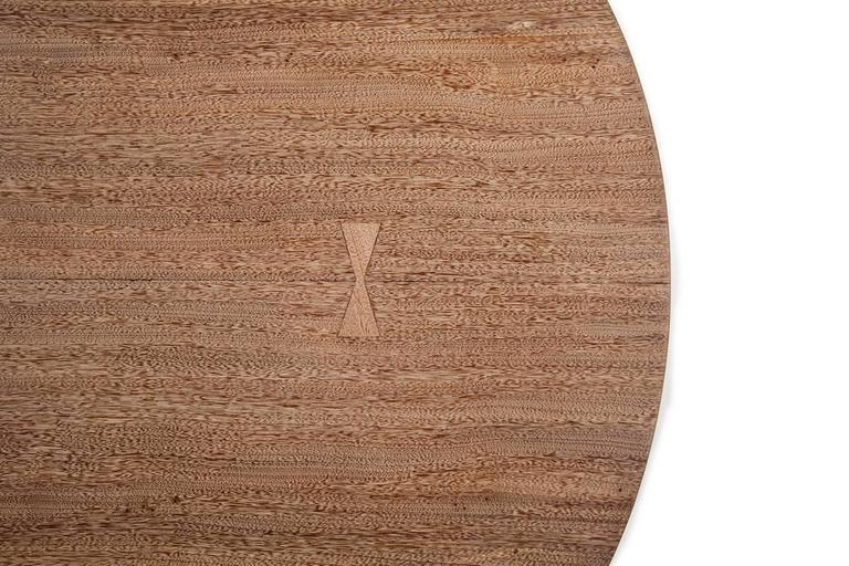 Minimalist Bespoke Oval Table, Two Slabs of Antique Reclaimed Wood on Sand-Cast Base For Sale