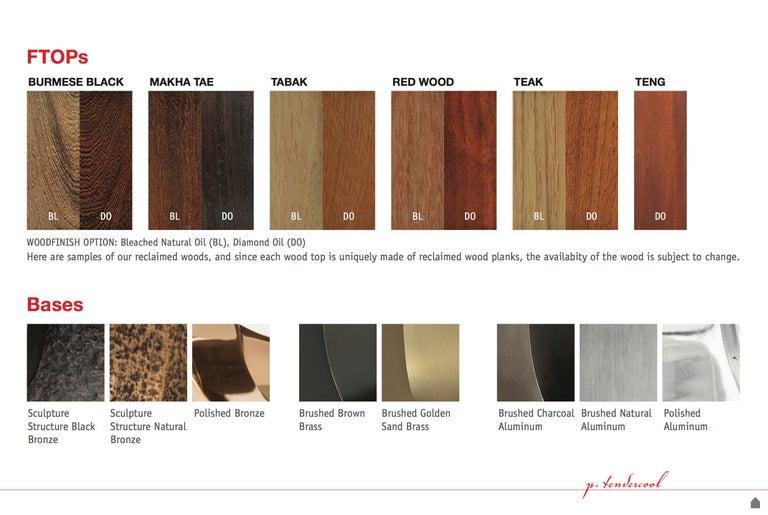 Ten-Seat Bespoke Reclaimed Hardwood Table, on Solid Brass Base by P.Tendercool 10