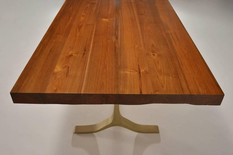 Bespoke Reclaimed Hardwood Dining Table HandCast Brass Base By P - Reclaimed hardwood dining table