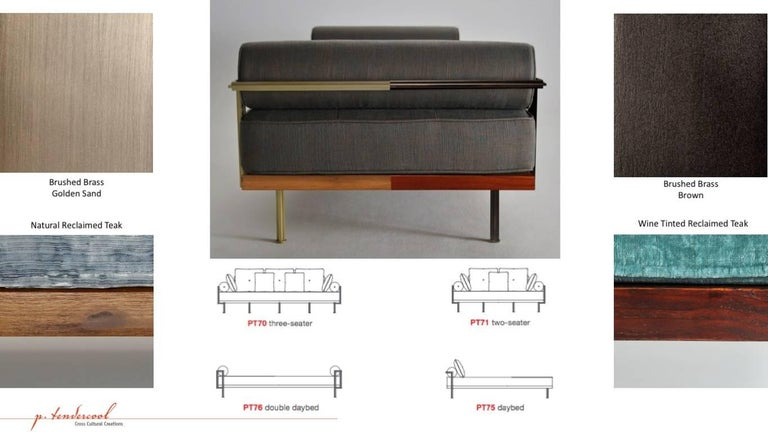 Contemporary Bespoke Two-Seat Sofa in Reclaimed Hardwood and Brass Frame, by P. Tendercool For Sale