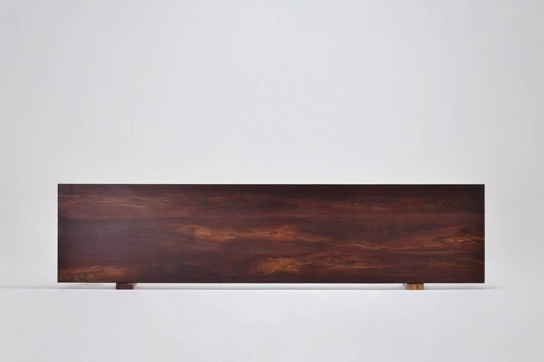 Contemporary Reclaimed Hardwood Console Table on Sand-Cast Base by P. Tendercool For Sale
