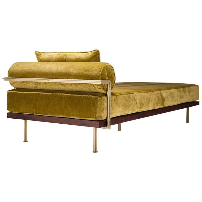 Bespoke Daybed, Reclaimed Hardwood in Brass Golden Sand Finish by P. Tendercool