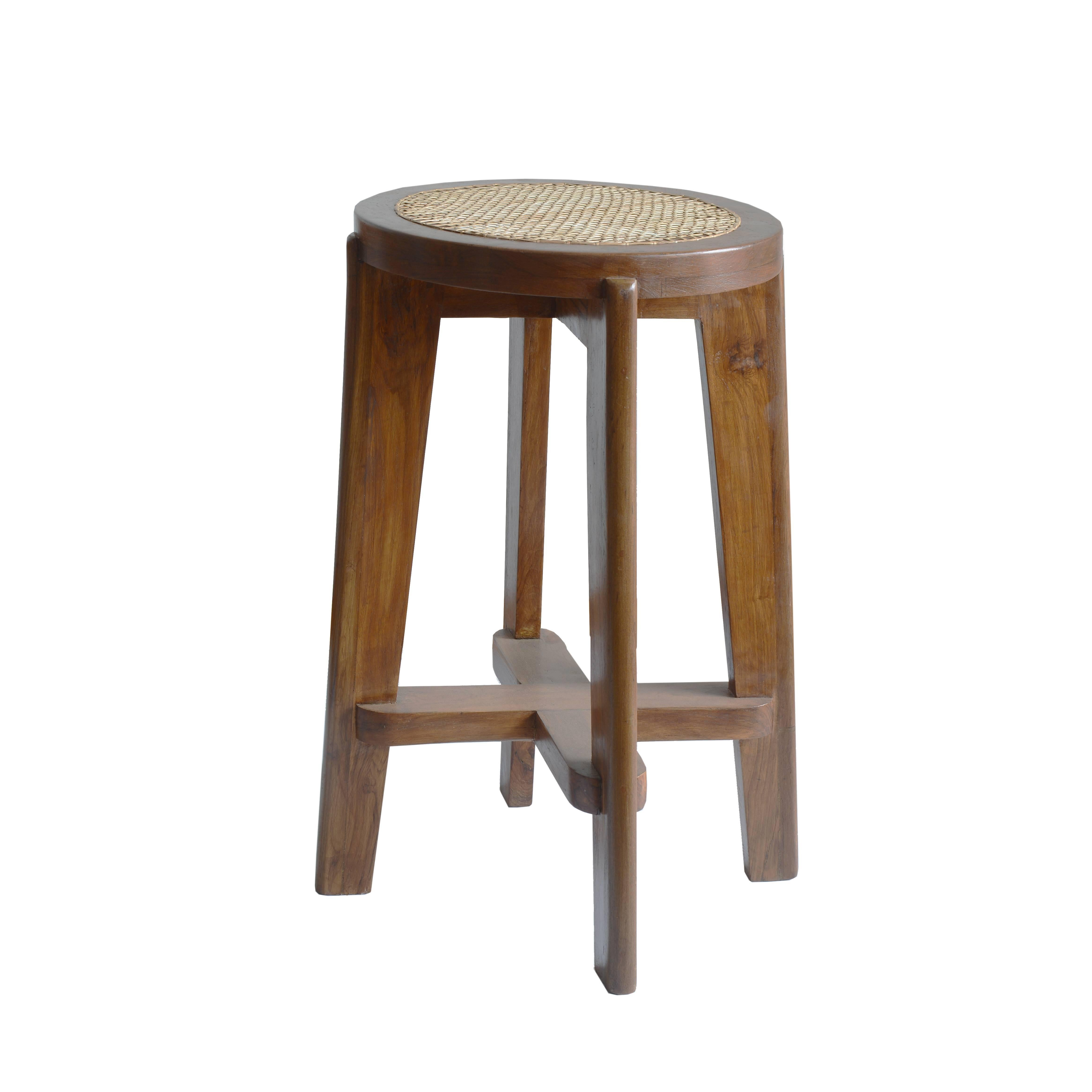 """Pierre Jeanneret """"High Stool with Canework"""" from Chandigarh"""