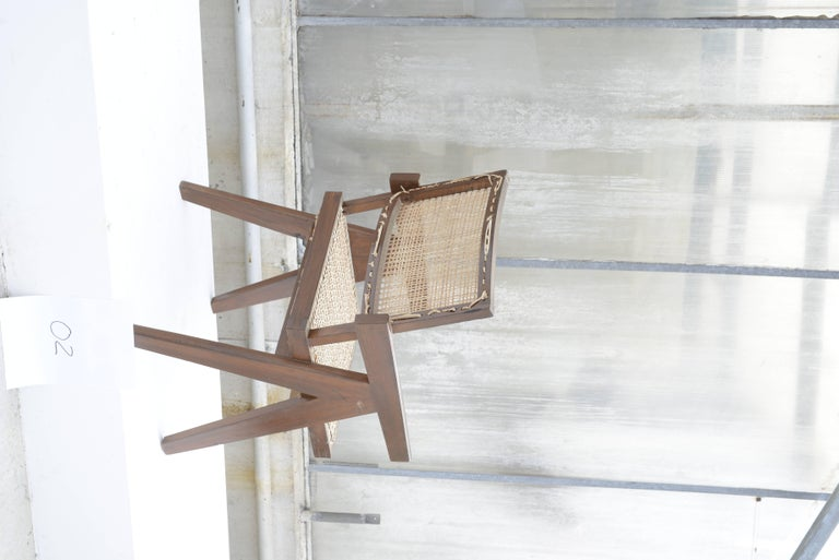 Caning Pierre Jeanneret Office Cane Chair for Chandigarh For Sale