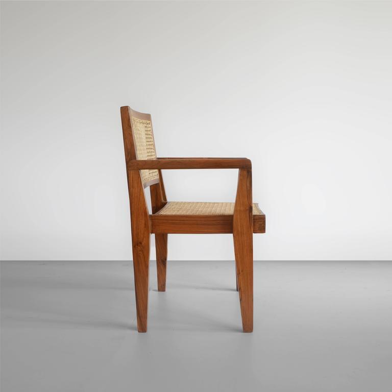 Pierre Jeanneret Chandigarh Cane Teak Chair Called Clerk's Chair 2