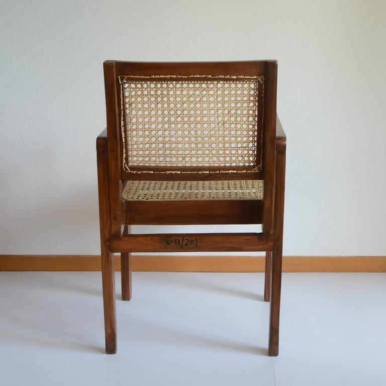 Brutalist Pierre Jeanneret Chandigarh Cane Teak Chair Called Clerk's Chair For Sale