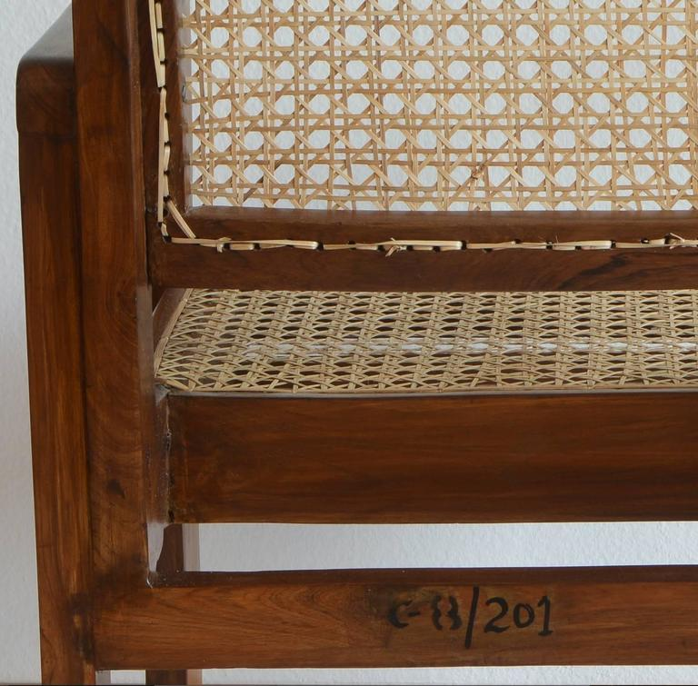 Indian Pierre Jeanneret Chandigarh Cane Teak Chair Called Clerk's Chair For Sale