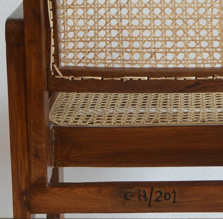 Pierre Jeanneret Chandigarh Cane Teak Chair Called Clerk's Chair 4