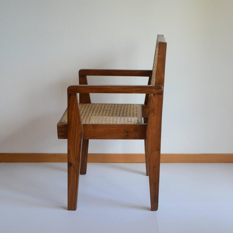 Pierre Jeanneret Chandigarh Cane Teak Chair Called Clerk's Chair In Excellent Condition For Sale In Zurich, CH