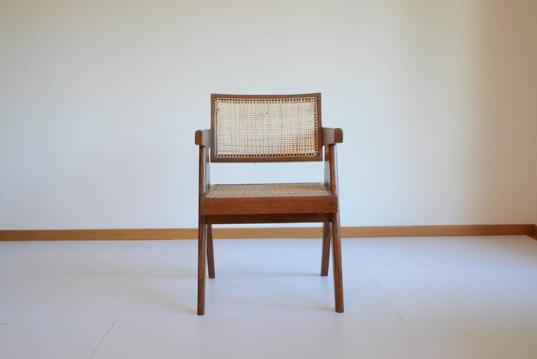 Indian Pierre Jeanneret Office Cane Chair PJ-SI-28-A from Chandigarh For Sale