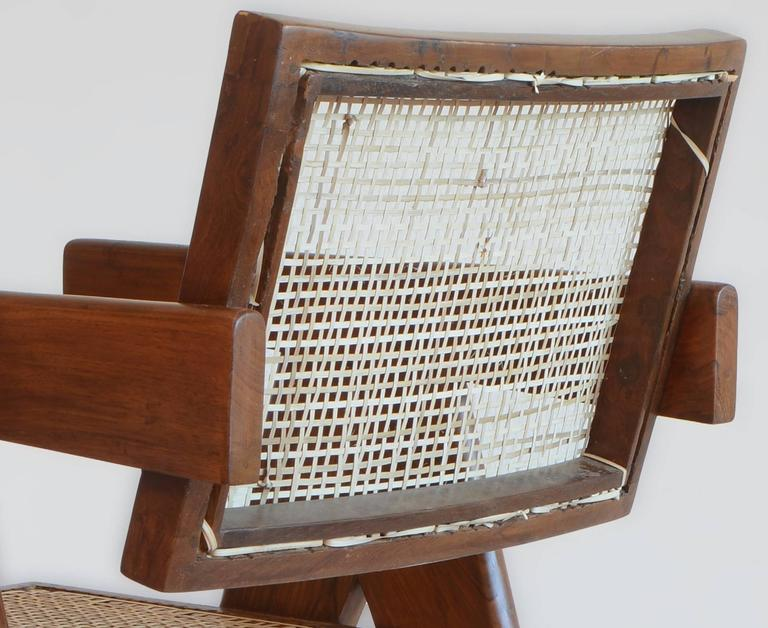 Pierre Jeanneret Office Cane Chair PJ-SI-28-A from Chandigarh In Excellent Condition For Sale In Dietikon, CH