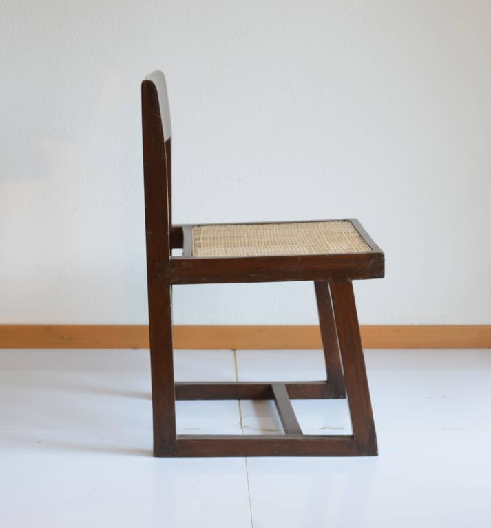 Mid-Century Modern Pierre Jeanneret for Chandigarh , Box Chair with Cane and Teak For Sale