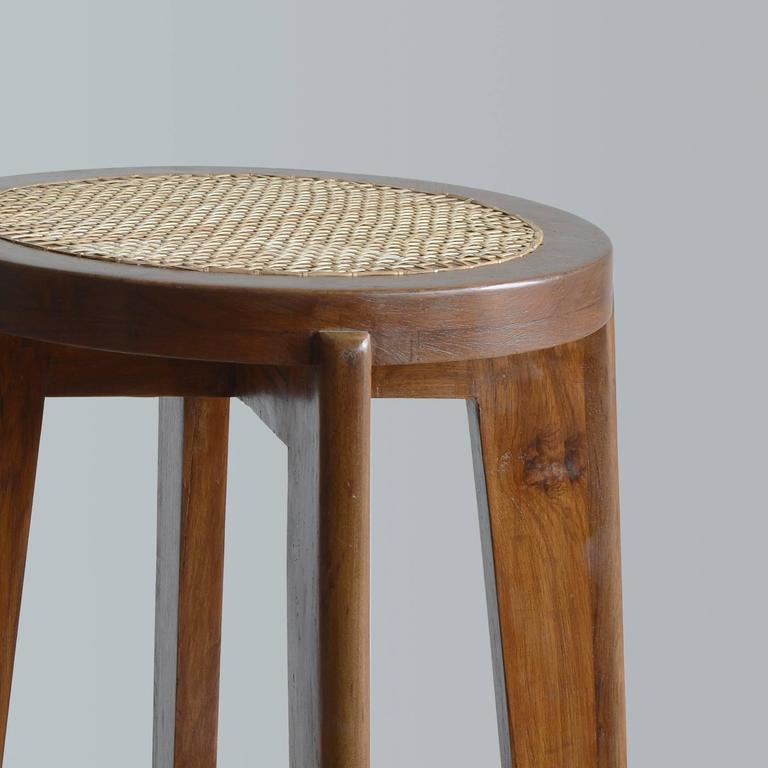 """Indian  Pierre Jeanneret """"High Stool with Canework"""" from Chandigarh For Sale"""