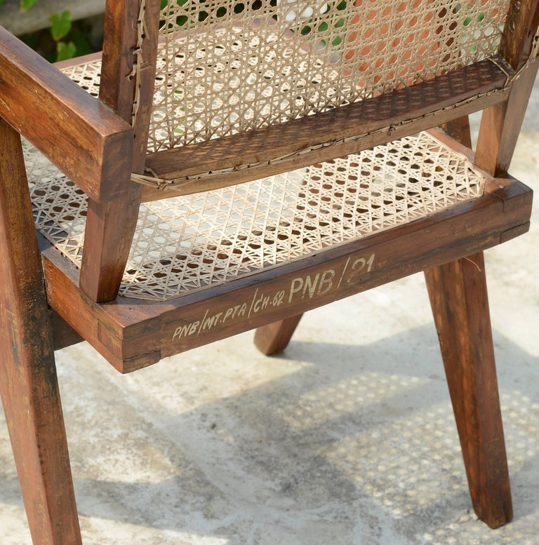 Pierre Jeanneret, office cane chair with cane. 