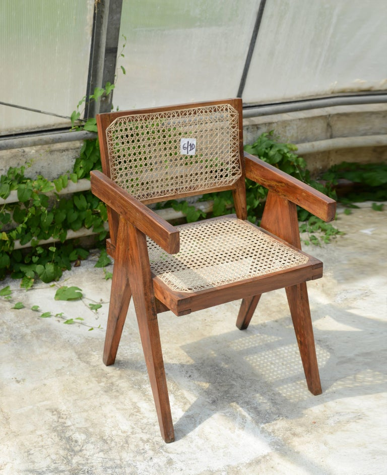 Mid-Century Modern Pierre Jeanneret Office Cane Chair, Rare with Letters from Punjab National Bank For Sale