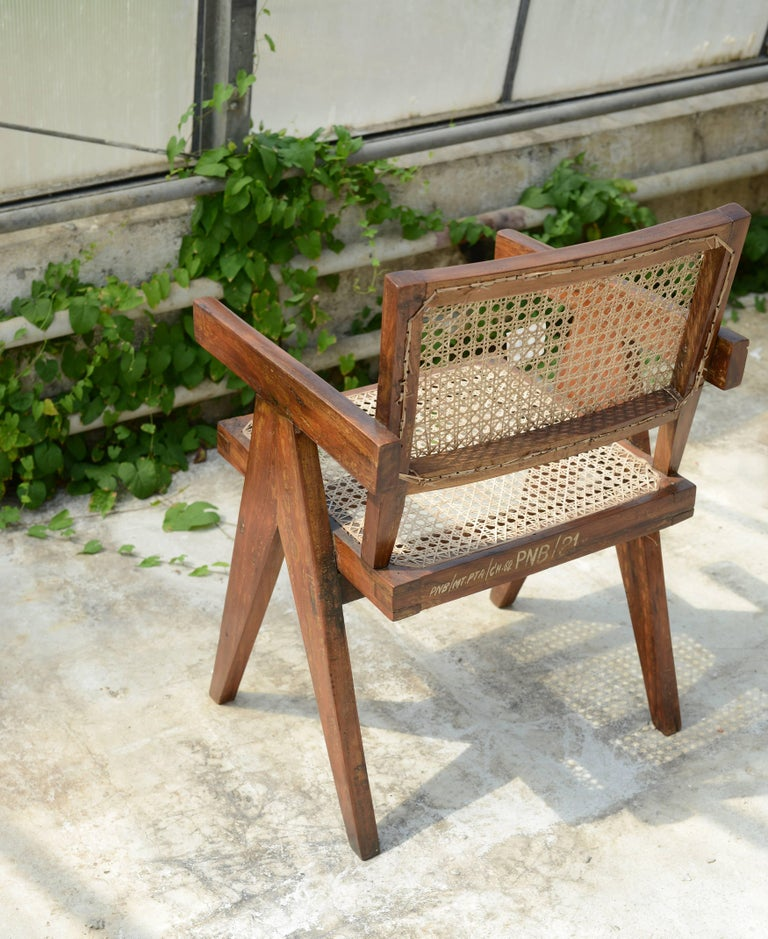 Caning Pierre Jeanneret Office Cane Chair, Rare with Letters from Punjab National Bank For Sale