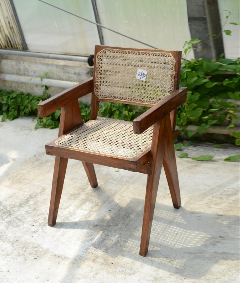 Indian Pierre Jeanneret Office Cane Chair, Rare with Letters from Punjab National Bank For Sale