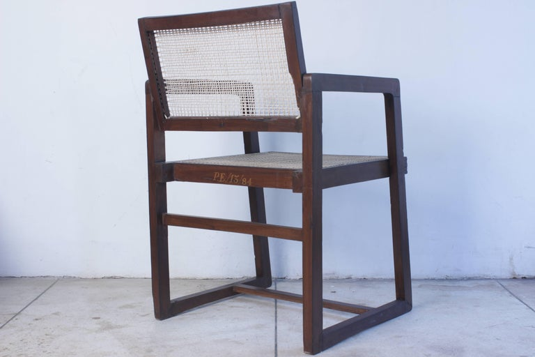 Mid-Century Modern Pierre Jeanneret Box Chair with Cane from Chandigarh PJ-SI-53-A For Sale