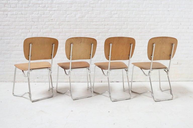 Mid-Century Modern First Edition Aluflex Chairs by Armin Wirth Switzerland, 1950s For Sale