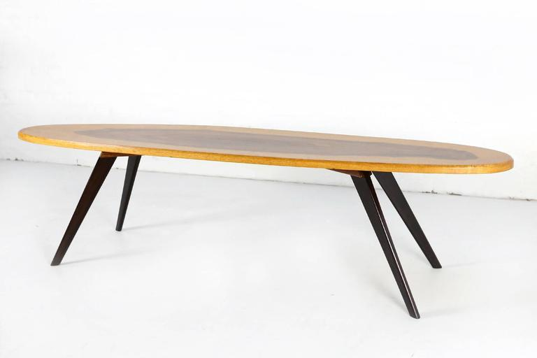 Mid-Century Modern Vintage Italian Surfboard Coffee Table in Solid Walnut and Rosewood, 1960s