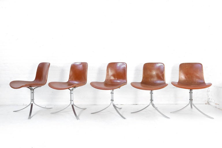 Mid-Century Modern Set of Five PK9 Chairs by Poul Kjaerholm for Kold Christensen, 1960s For Sale
