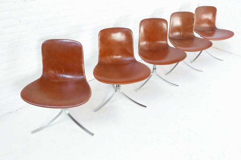 Danish Set of Five PK9 Chairs by Poul Kjaerholm for Kold Christensen, 1960s For Sale