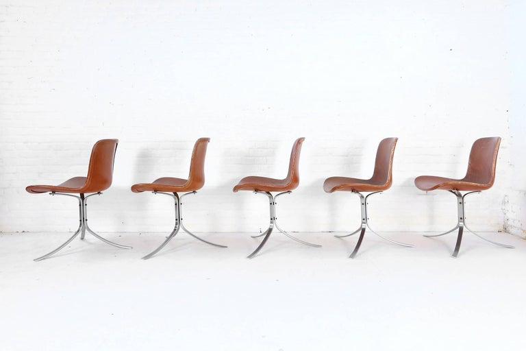 Mid-20th Century Set of Five PK9 Chairs by Poul Kjaerholm for Kold Christensen, 1960s For Sale