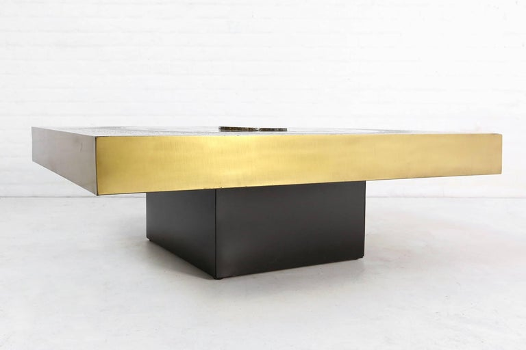 This impressive coffee table is designed by the Belgian artist and designer Marc D'Haenens in the 1970s.