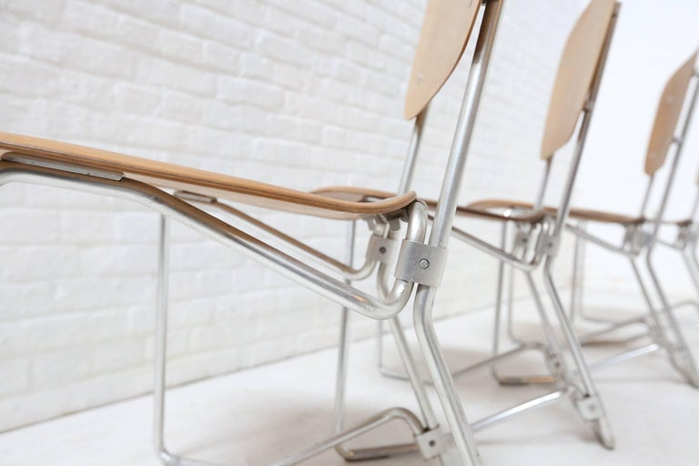 Aluminum First Edition Aluflex Chairs by Armin Wirth Switzerland, 1950s For Sale