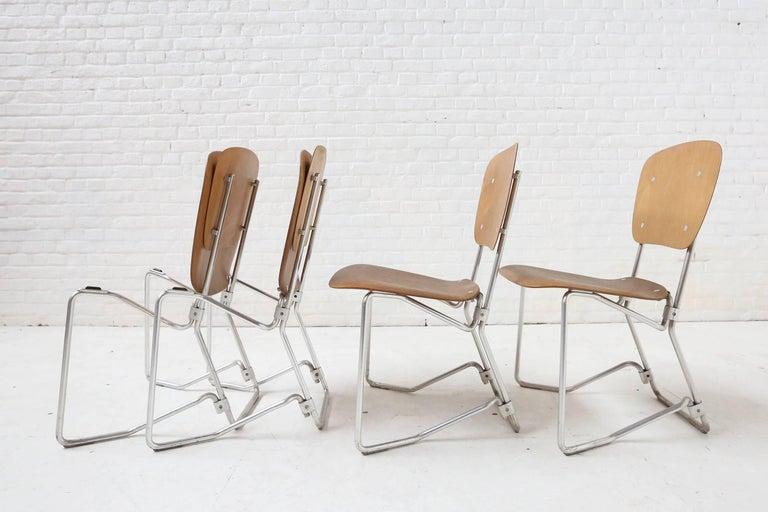 Swiss First Edition Aluflex Chairs by Armin Wirth Switzerland, 1950s For Sale