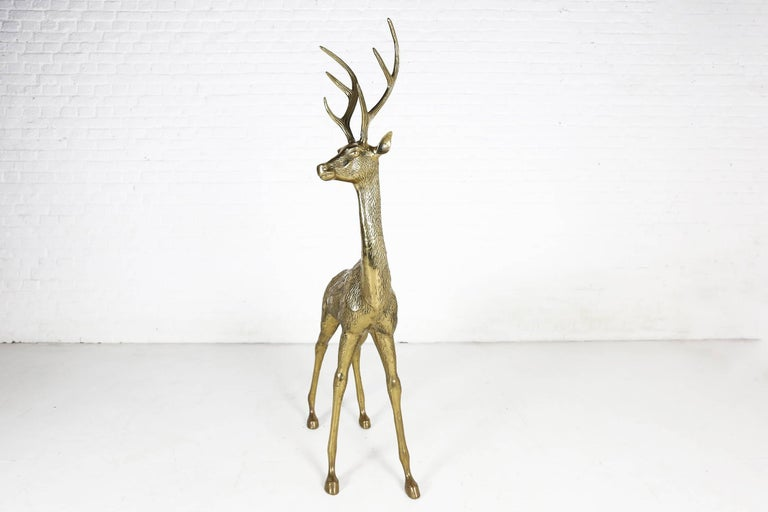 Late 20th Century Hollywood Regency Life-Size Brass Deer Sculpture, 1970s For Sale