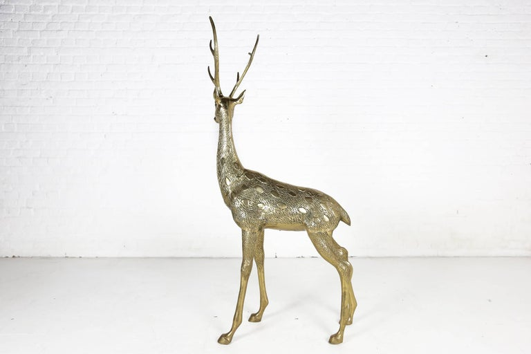 Italian Hollywood Regency Life-Size Brass Deer Sculpture, 1970s For Sale