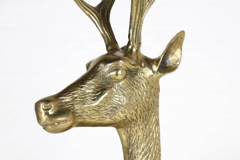 Hollywood Regency Life-Size Brass Deer Sculpture, 1970s In Good Condition For Sale In Ghent, BE