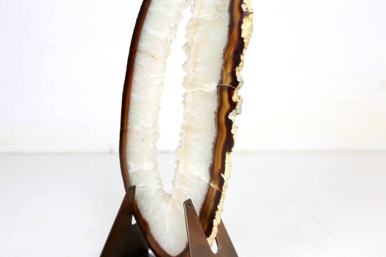 Very Large and Rare White Agate on Brass Base Attributed to Willy Daro For Sale 4