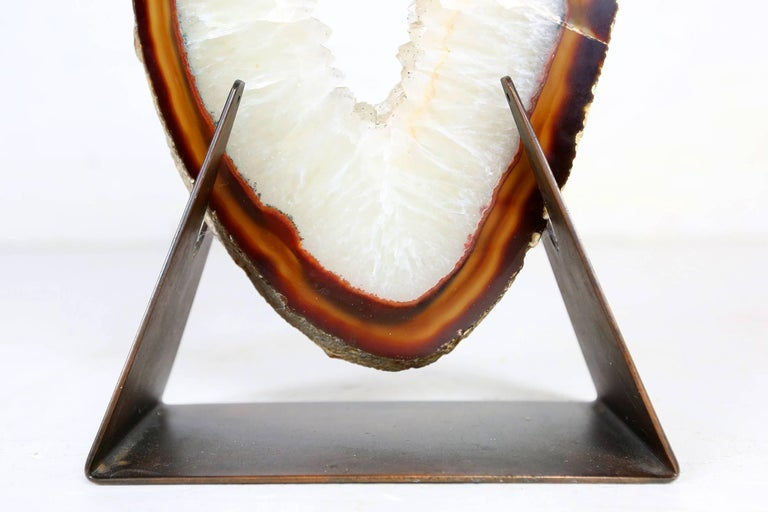 Very Large and Rare White Agate on Brass Base Attributed to Willy Daro In Good Condition For Sale In Ghent, BE