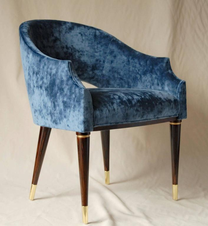 Mid-Century Modern Armchair, Midcentury Style, Luxury Details, Blue Cloudy Velvet, Italia For Sale