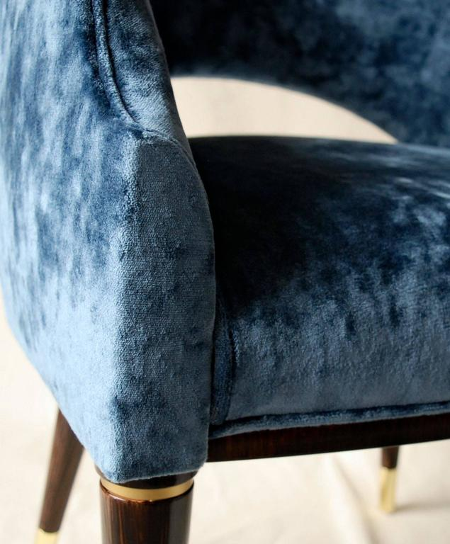 Contemporary Armchair, Midcentury Style, Luxury Details, Blue Cloudy Velvet, Italia For Sale