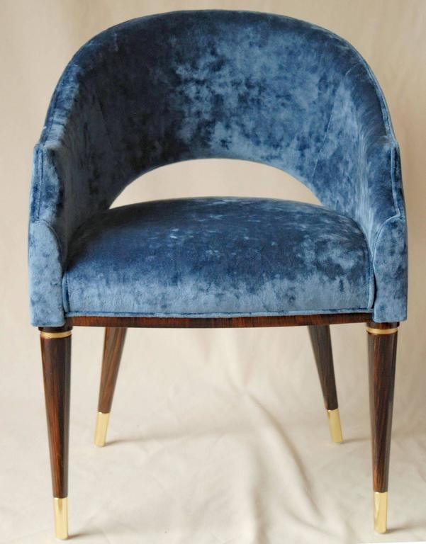 Armchair, Midcentury Style, Luxury Details, Blue Cloudy Velvet, Italia For Sale 1