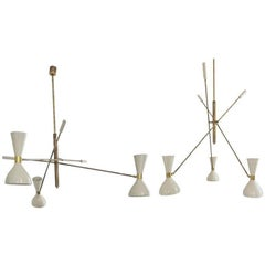 Patinated brass and Ivory, Adjustable Three-Arm 'Triennale' Style Chandelier