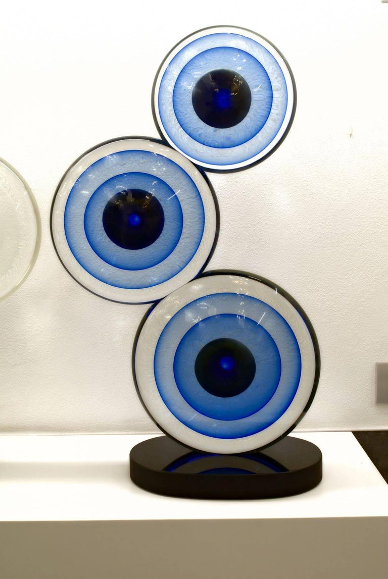 Italian Romano Dona, Three Discs Sculpture, Black Base Cobalt Gold Centre with Sommerso For Sale