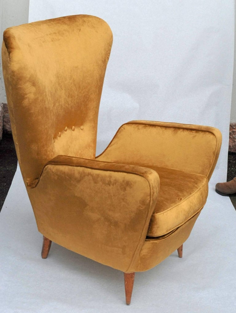 Sala Madini for Galimberti Cantu Armchair 1950s, Fully Restored, Gold Velvet In Good Condition For Sale In Tavarnelle val di Pesa, Florence