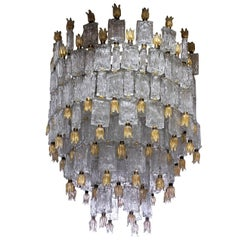 Barovier & Toso, Glass Blocks with Gold Rosettes Chandelier, 1940 or Later